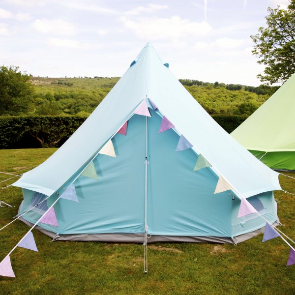 Funky blue canvas bell tent