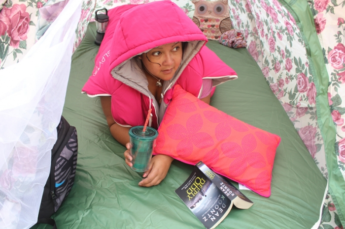 Me inside the tent!